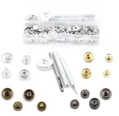 Snap fasteners 10mm in case w hand setter, hole punch, 50 snaps