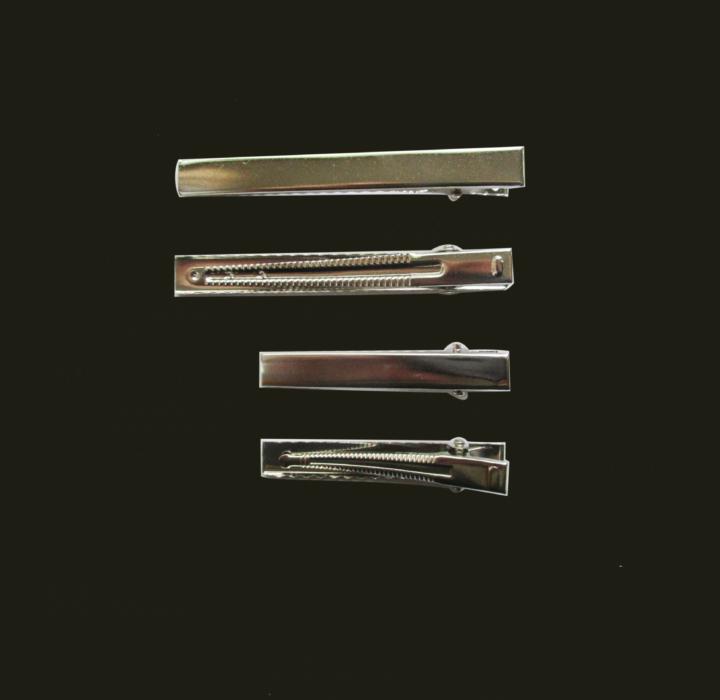 Blank Alligator Hair Clip Base Rhodium